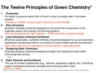 The Twelve Principles of Green Chemistry*