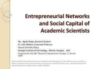 Entrepreneurial Networks and Social Capital of Academic Scientists