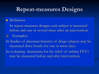 Repeat-measures Designs