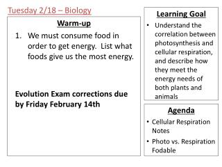 Tuesday 2/18 – Biology