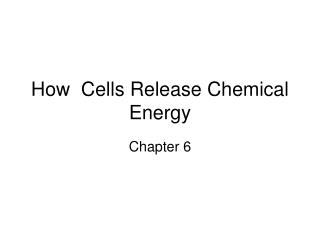 How  Cells Release Chemical Energy