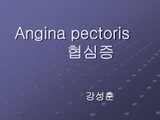 Angina pectoris 협심증