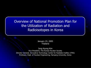 Overview of National Promotion Plan for the Utilization of Radiation and Radioisotopes in Korea