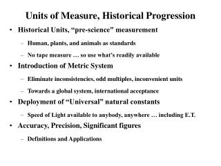 Units of Measure, Historical Progression