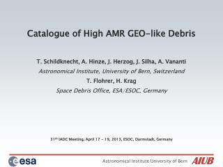 Catalogue of High AMR GEO-like Debris