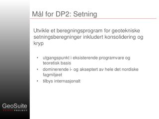 Mål for DP2: Setning