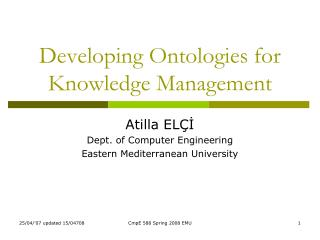 Developing Ontologies for Knowledge Management