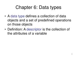 Chapter 6: Data types