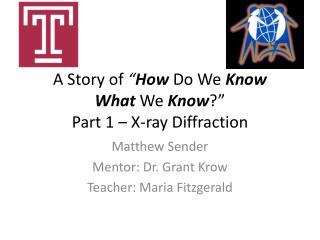 "A Story of "" How  Do We  K now What W e  K now ?"" Part 1 – X-ray Diffraction"
