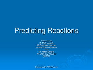 Predicting Reactions