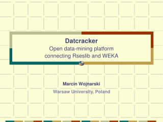 Datcracker Open data-mining platform  connecting Rseslib and WEKA