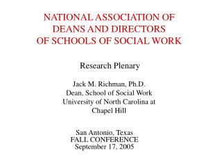 NATIONAL ASSOCIATION OF DEANS AND DIRECTORS OF SCHOOLS OF SOCIAL WORK