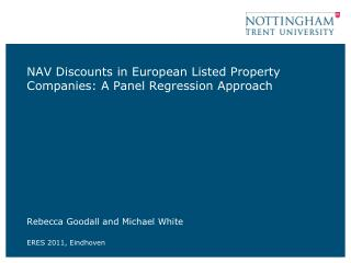 NAV Discounts in European Listed Property Companies: A Panel Regression Approach