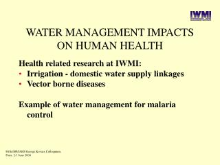WATER MANAGEMENT IMPACTS ON HUMAN HEALTH