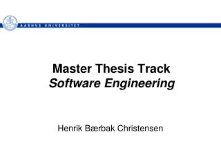 Master Thesis Track Software Engineering