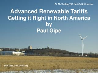 Advanced Renewable Tariffs  Getting it Right in North America by Paul Gipe