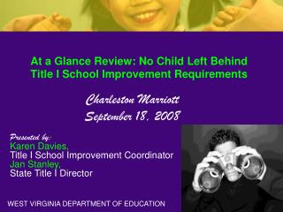 At a Glance Review: No Child Left Behind Title I School Improvement Requirements
