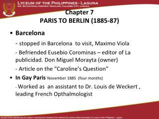 Chapter 7 PARIS TO BERLIN (1885-87)