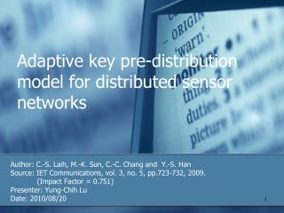 Adaptive key pre-distribution model for distributed sensor networks