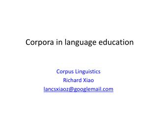 Corpora in language education