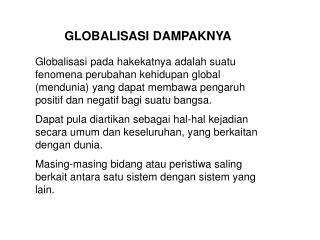 GLOBALISASI DAMPAKNYA