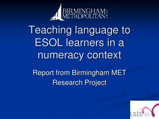Teaching language to ESOL learners in a numeracy context