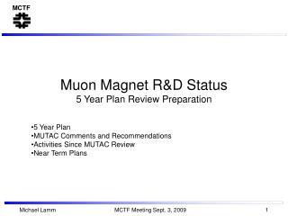 Muon Magnet R&D Status 5 Year Plan Review Preparation