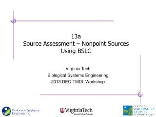 13a Source Assessment – Nonpoint Sources Using BSLC