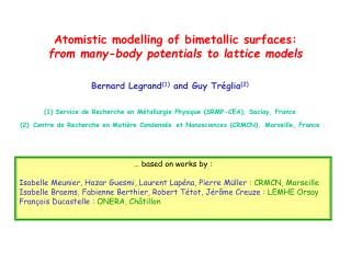 Atomistic modelling of bimetallic surfaces: from many-body potentials to lattice models