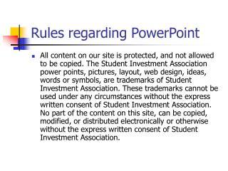 Rules regarding PowerPoint