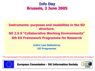 Info Day Brussels, 2 June 2005