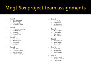 Mngt  601 project team assignments