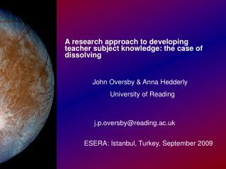 A research approach to developing teacher subject knowledge: the case of dissolving