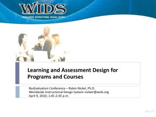 Learning and Assessment Design for Programs and Courses