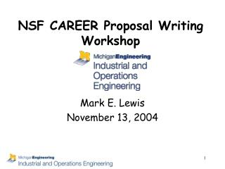 NSF CAREER Proposal Writing Workshop
