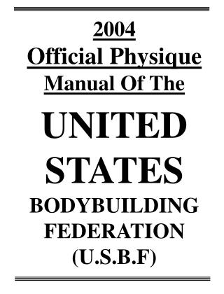 2004 Official Physique  Manual Of The UNITED STATES  BODYBUILDING FEDERATION (U.S.B.F)