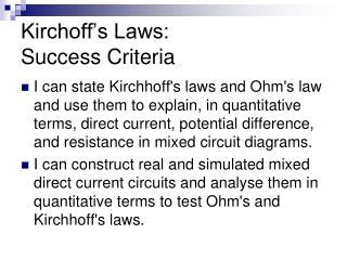 Kirchoff's Laws: Success Criteria