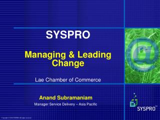 SYSPRO Managing & Leading Change Lae Chamber of Commerce
