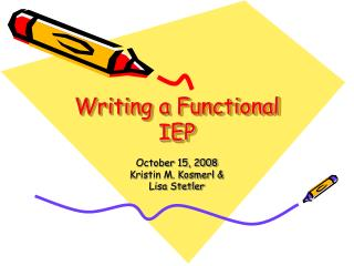 Writing a Functional IEP