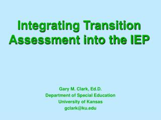 Integrating Transition Assessment into the IEP
