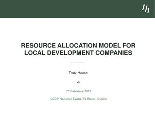 Resource Allocation Model for  Local Development Companies