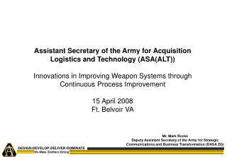 Assistant Secretary of the Army for Acquisition Logistics and Technology (ASA(ALT))