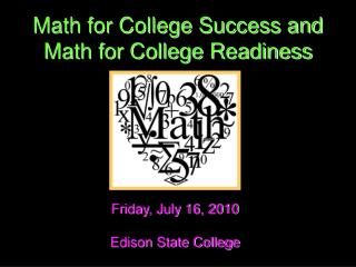 Math for College Success and Math for College Readiness