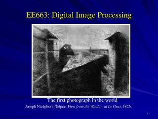 EE663: Digital Image Processing
