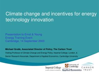 Climate change and incentives for energy technology innovation