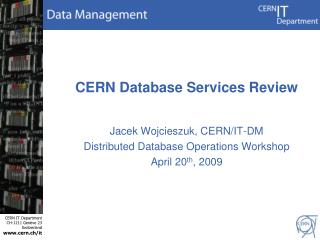 CERN Database Services Review