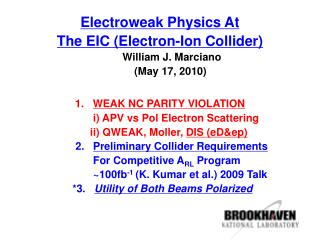 Electroweak Physics At The EIC (Electron-Ion Collider)