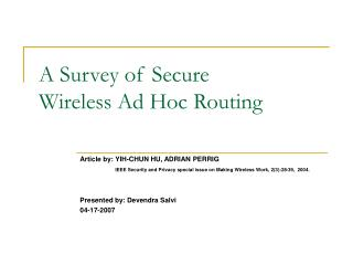 A Survey of Secure Wireless Ad Hoc Routing