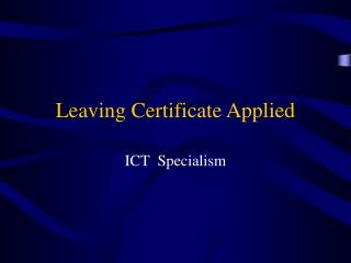 Leaving Certificate Applied