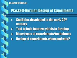 Plackett-Burman Design of Experiments